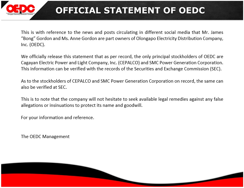 OEDC Official Statement
